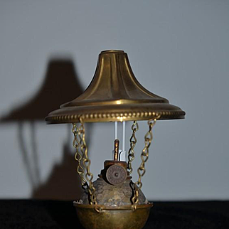 Old Miniature Hanging Oil Lamp Korner & Co. From Germany Dollhouse Brass Fancy