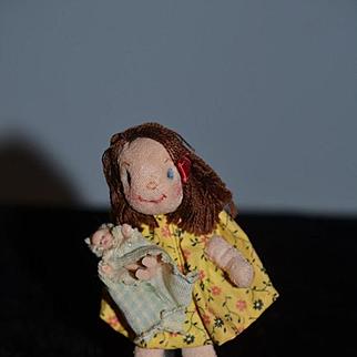 Old Doll Cloth Doll Miniature Artist Doll Gwen Flather Girl Holding Doll