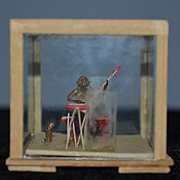 Wonderful Miniature Oriental Square Glass Dome Monkey Playing Banjo