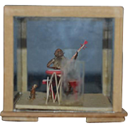 Wonderful Miniature Oriental Square Glass Dome Monkey Playing Banjo