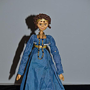 """Wonderful Doll Artist Carved Wood Jointed Signed Unusual Wood Pegged 16"""" Tall"""