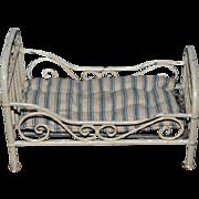 Antique Doll Miniature Rare Lit Pliant Pour Poupee  Metal Dollhouse Bed Wrought Iron Fancy Marklin