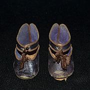 Wonderful Doll Paris Depose French Doll Shoes W/ Bee Mark Leather