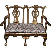Wonderful Doll Miniature Settee Sofa Couch Metal Ornate Signed