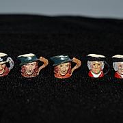 Vintage Doll Miniature Dollhouse Figural Mugs Face Mugs Metal Set