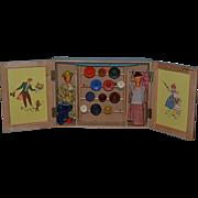 Wonderful Old Wood Doll Set W/ Wardrobe & Accessories Ver Kleine Modesalon In Original Wood Box German