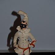 Old Doll Jester Felt Cloth Doll Rag Doll Unusual W/ Mask