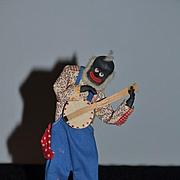 Wonderful Old Black Doll Cloth Doll Cotton Land Signed Banjo Player W/ Info: