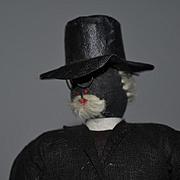 Old Black Cloth Doll Preacher W/ Cane and Prayer Book