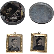 Antique Doll Miniature Tin Type Photographs Dollhouse in Case and W/ Old Frames Wonderful Treasure LOT