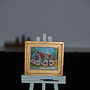 Wonderful Old Miniature Oil Painting Dollhouse W/ Easel Prince Murat House St. Augustine FL.  Y. Kirby