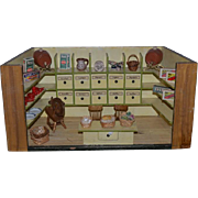 Old Doll German Store Miniature Dollhouse Wood W/ Contents Dioramas