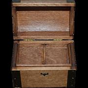 Wonderful Doll Miniature Trunk Chest Wood & Brass Artist Signed A. Schilling Dollhouse