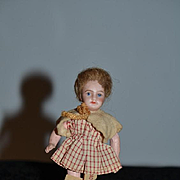 All Original French Bisque Miniature Dollhouse Doll W/ Original Tagged Factory Clothing School Girl