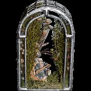 Vintage Doll Tiny Miniature Gazebo Metal & Glass With Flowers Dollhouse Gorgeous
