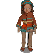 Old Doll Lenci Cloth Doll Felt Doll Painted Features