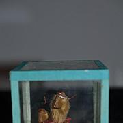 Wonderful Doll Miniature Diorama Glass Dome Monkey On a Bench W/ Smaller Monkey Dollhouse