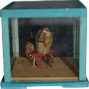 Wonderful Doll Miniature Diorama Glass Dome Monkey On a Bench W/ Smaller Monkey Dollhouse