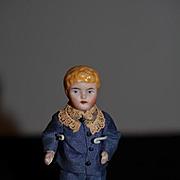 Antique Doll Miniature China Head Boy Dollhouse Doll Wonderful Clothes
