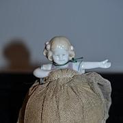 Old Doll Wonderful Half Doll China Head W/ Arms Away W/ Skirt Pin Cushion