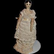 Old Wonderful Doll Miniature Wood Jointed Pegged Painted Unusual Dollhouse Grodnertal