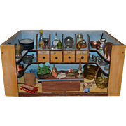 Old Doll Wood Store W/ Drawers and Miniatures FILLED Dollhouse Diorama