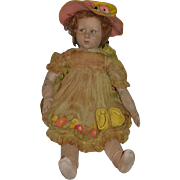 "Old Doll Lenci Cloth Doll 1920's LARGE Girl 27"" Tall Signed"