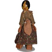 Old Doll Wood Carved Jointed Hitz, Jacobs and Kessler Unusual Rare Wonderful Detail Orig. Clothing