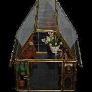 Miniature Glass Green House Garden Room Glass & Brass Flowers Dollhouse Adorable Flower Store
