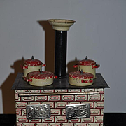 Old Doll Tin Stove Oven Miniature W/ Pots and Pans