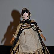 Vintage Doll Wood Carved Signed Little Brown House Originals By Pauline Nagle