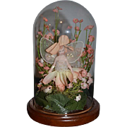 Doll Artist Fairy Porcelain in Glass Dome W/ Flowers