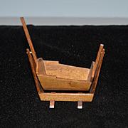 Wonderful Doll Wood Rocking Cradle Artist Made Vermont Miniature Maker John Harms?? Signed 1970 Dollhouse