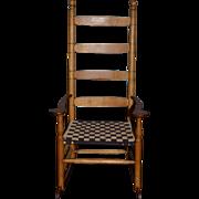 Wonderful Doll Rocking Chair Wood Artist Made China Head Or Cloth Doll