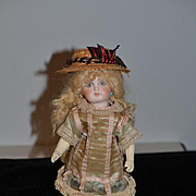 Antique Doll Cabinet Size Gorgeous Petite Sonneberg Bisque Doll French Market Closed Mouth