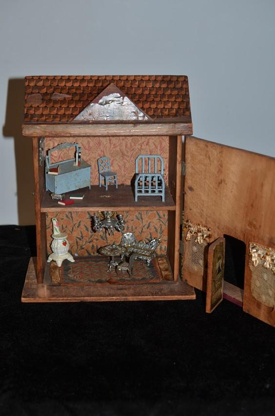 Antique Doll Bliss Wood And Litho Two Story Dollhouse W