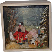 Old Doll Diorama Winter Wonderland Miniature Dollhouse China Head & More Holiday Scene Room Box