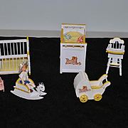 Vintage Doll Furniture W/ Old Dolls For Dollhouse Wood Nursery Set