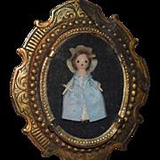Wonderful Vintage Doll Artist Wood Miniature Grodnertal Doll Signed Betty A Brooch Glass Case Dollhouse