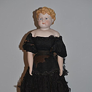"Old Doll Large Bisque Parian China Head BIG! Gorgeous Clothing Turned Head 34"" Tall"