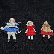 Antique Doll All Bisque Miniature Dolls Crochet Outfit Dollhouse Jointed