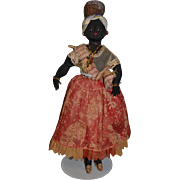 Old Doll Black Cloth Rag Doll Unusual