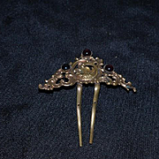 Old Doll Hair Comb Ornate with Glass Stones