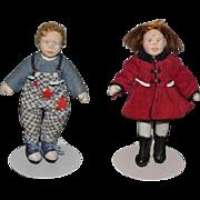 Wonderful Miniature Artist Cloth Felt Doll Boy and Girl Pair Set