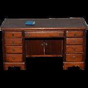 Old Miniature Doll Wood Desk Leather Top Fancy Dollhouse