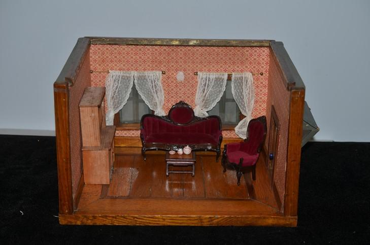 Miniature Children S Bedroom Room Box Diorama: Old Doll Miniature Room Box Dollhouse Diorama W/ Furniture