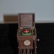 Vintage Doll Artist Record Player Miniature Phonograph Signed RAE 1977 Wood Victrola