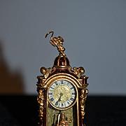 Rare Doll Miniature Robert Dawson Boulle Gilt Enamel Clock Signed Dollhouse Ornate Cherub