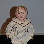 Antique Doll Ella Rollinson Oil Cloth Doll Stockinette Rare Small Size 13 inch