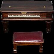 Vintage Doll Miniature Wood Piano Dollhouse Music Box Gilbert & Co. Boston